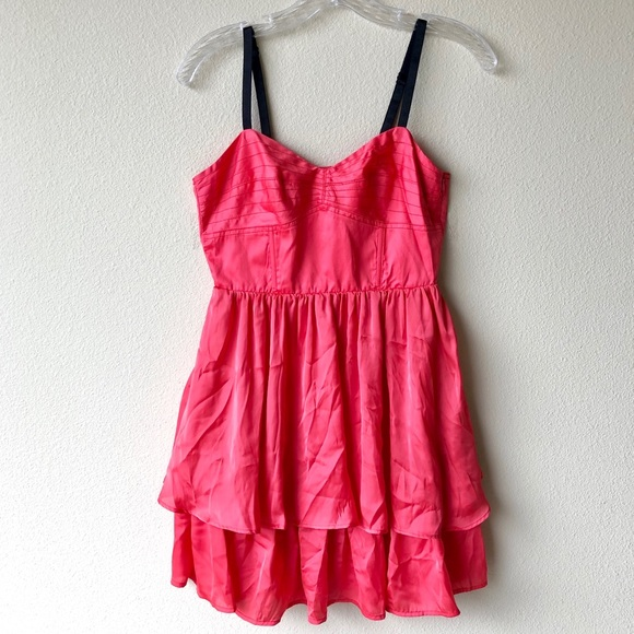 Bright Coral party mini dress, GO International, 5